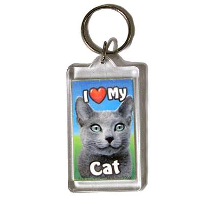 Plastic Keyring Cat Russian Blue