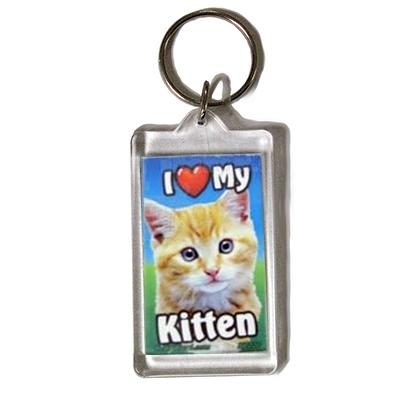 Plastic Keyring Kitten Orange