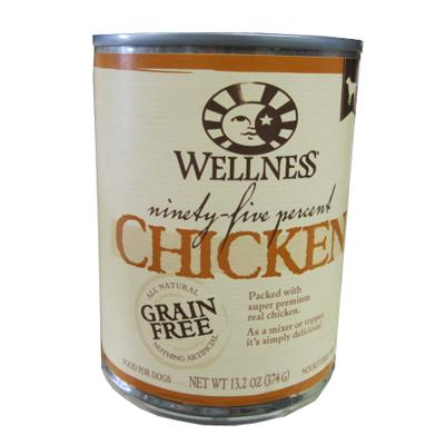 Wellness 95% Chicken Recipe Dog Food 13oz each