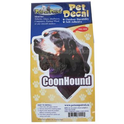 6-inch Vinyl Dog Decal Coonhound Picture