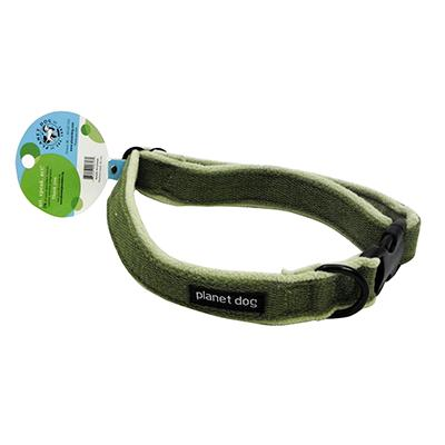 Planet Dog Large Green Cozy Hemp Adjustable Dog Collar