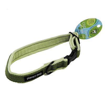 Planet Dog Medium Green Cozy Hemp Adjustable Dog Collar
