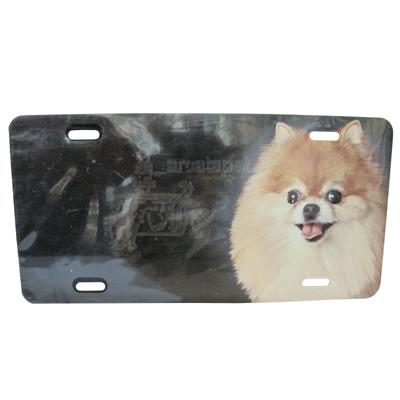 Aluminum Dog Breed License Plate with Pomeranian Head