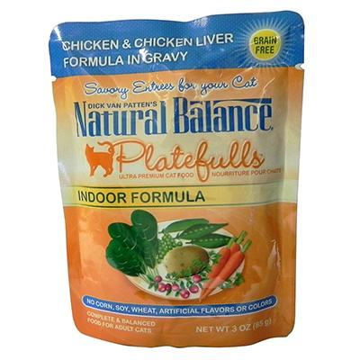 Platefulls Indoor Chicken & Liver Cat Food Pouch ea.