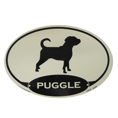 Euro Style Oval Dog Decal Puggle