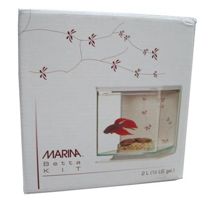Marina Creme and Burgundy Betta Aquarium Kit