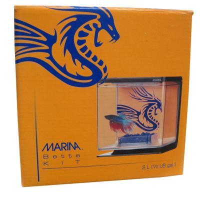 Marina Orange and Electric Blue Betta Aquarium Kit
