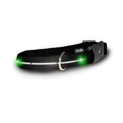 Visiglo Black LED Illuminated Small Dog Collar 10 to 14 inch