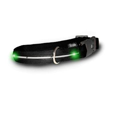Visiglo Black LED Illuminated Large Dog Collar 16 to 26 inch