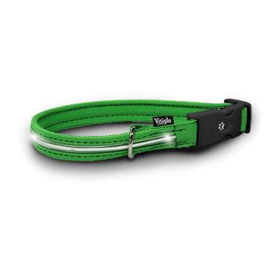 Visiglo Green LED Illuminated Small Dog Collar 10 to 14 inch
