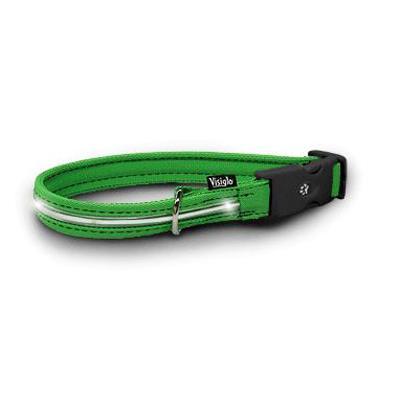 Visiglo Green LED Illuminated Medium Dog Collar 13 to 20-in.