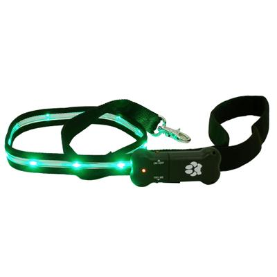 Visiglo Black LED Illuminated Dog Leash 4 Foot