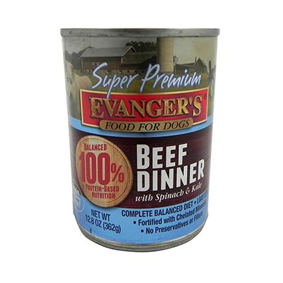 Evanger's Super Premium Beef Dinner Canned Dog Food 13-oz ea
