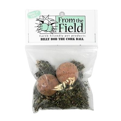 Billy Bob Natural Cork Ball Cat Toy with Organic Catnip Leaf