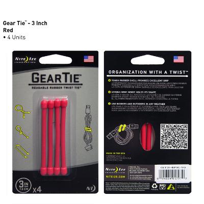 Gear Tie 3 inch Red Reusable Rubber Twist Tie 4pk
