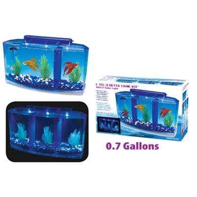 Water World 1-To-3 Betta Tank Kit with 2 Color Light