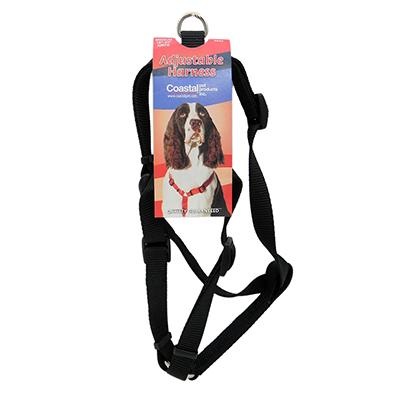 Adjustable Medium Dog Harness 3/4-inch Black Nylon