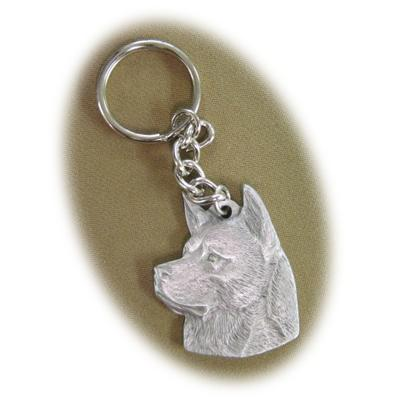 Pewter Key Chain I Love My Akita