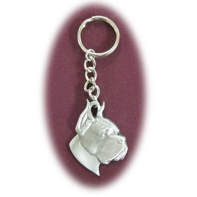 Pewter Key Chain I Love My Boxer Cropped Ears