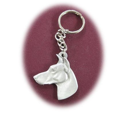Pewter Key Chain I Love My Doberman with Cropped Ears