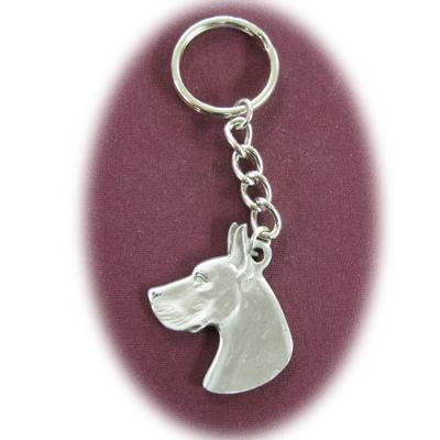 Pewter Key Chain I Love My Great Dane