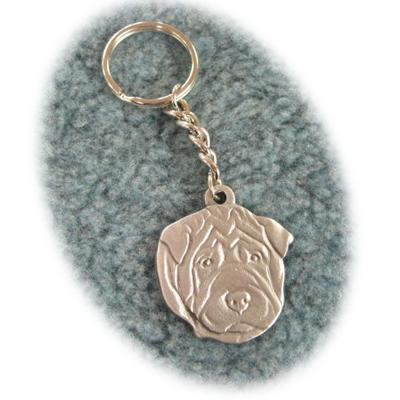 Pewter Key Chain I Love My Shar Pei