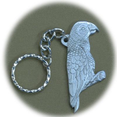 Pewter Key Chain I Love African Greys