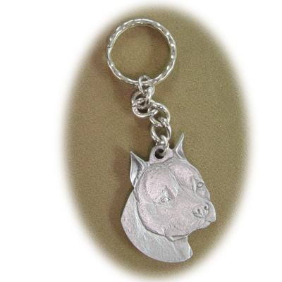 Pewter Key Chain I Love My American Staffordshire Cropped
