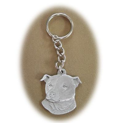 Pewter Key Chain I Love My Staffordshire Terrier