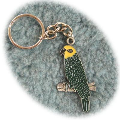 Pewter Key Chain I Love Amazon Parrots Painted