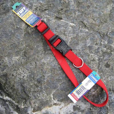 Nylon Dog Collar Adjustable 3/4-inch Red