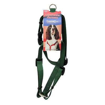 Adjustable Medium Dog Harness 3/4-inch Green Nylon