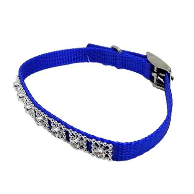 Jewelled Pet Collar 12 inch Blue