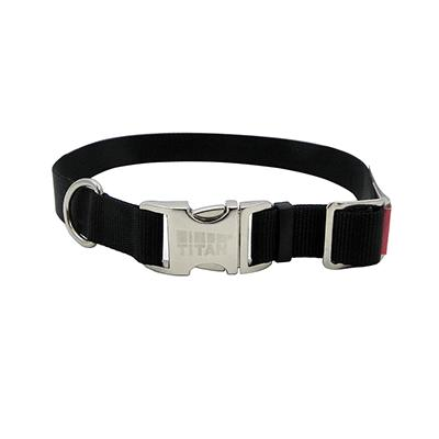 Titan Large Black Nylon Adjustable Dog Collar