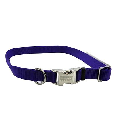 Titan Large Purple Nylon Adjustable Dog Collar