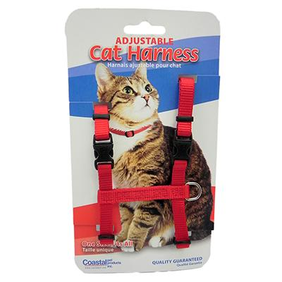 Adjustable Figure H Cat Harness Red Nylon