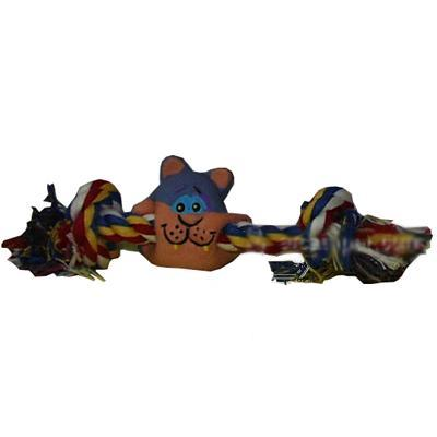 Latex Rope Bone Cat Face Dog Toy