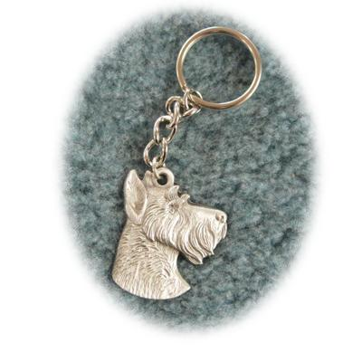Pewter Key Chain I Love My Miniature Schnauzer