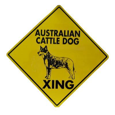 Sign Australian Cattle Dog Xing 12 x 12 inch Aluminum
