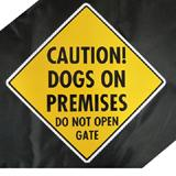 Caution Dogs on Premises Do Not Open Gate Sign Aluminum