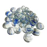 Gem Stones Flat Marbles Swirl Blue/Clear Aquarium Decoration