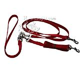 Pet Walker-Plus Nylon Leash 2-Dog Red Small