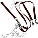 Pet Walker-Plus Nylon Leash 2-Dog Red Large