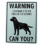 Sign Labrador I Can Make It to the Fence in 2.8 Seconds