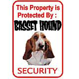 Sign Basset Hound Security 12 x 18 inch Aluminum
