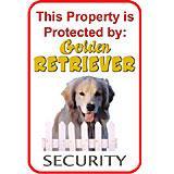 Sign Golden Retriever Security 12 x 18 inch Aluminum