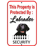 Sign Black Labrador Security 12 x 18 inch Aluminum