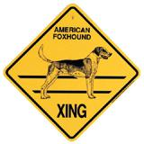 Xing Sign American Foxhound Plastic 10.5 x 10.5 inches