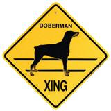 Xing Sign Doberman Natural Ears Plastic 10.5 x 10.5 inches