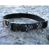 Dog Collar Adjustable Nylon Bling Bones 12-20 1 inch wide